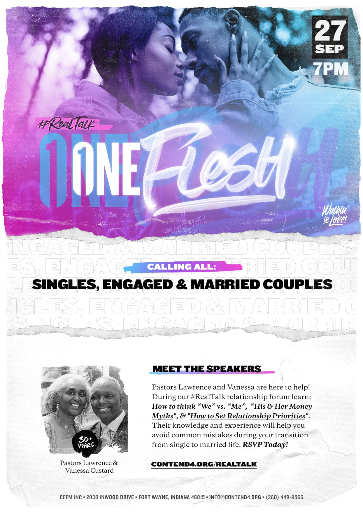 #RealTalk One Flesh Event Flyer Singles Engaged Married Couples